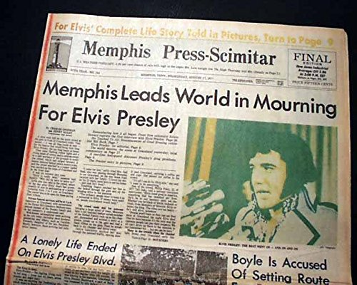 (Best ELVIS PRESLEY DEATH Rare Memphis TN Tennessee w/Photos 1977 Old Newspaper)