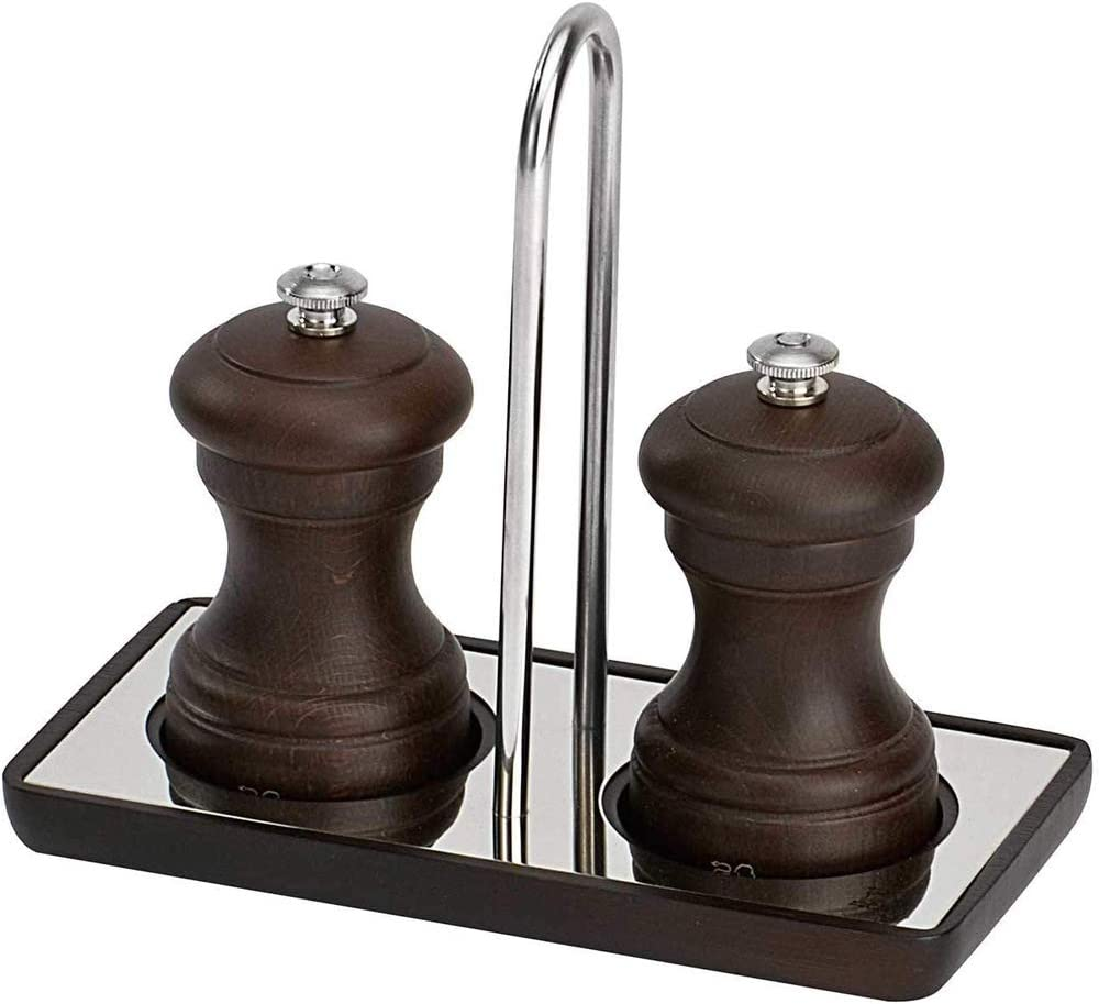 Wood//Stainless Steel Peugeot Linea Salt and Pepper Mill Tray