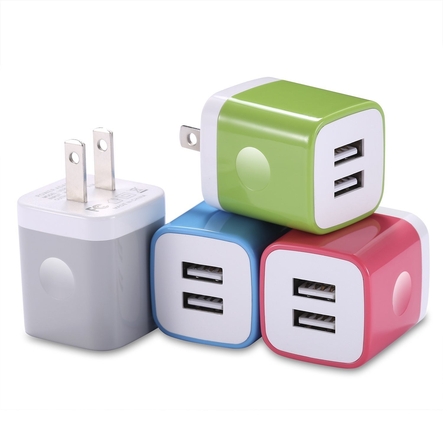 LOOGGO USB Wall Charger, 10.5-Watt 2-Port USB Charger Wall Plug Power Adapter Charging Block Cube Compatible with iPhone X 8 7 6 Plus 5S, iPad, iPod, Samsung, LG, HTC, Kindle, Android Phones -4Pack