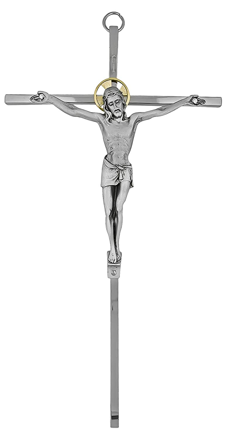 Toccare 10 Nickel-Plated Brass Wall Crucifix with Antique Pewter Corpus