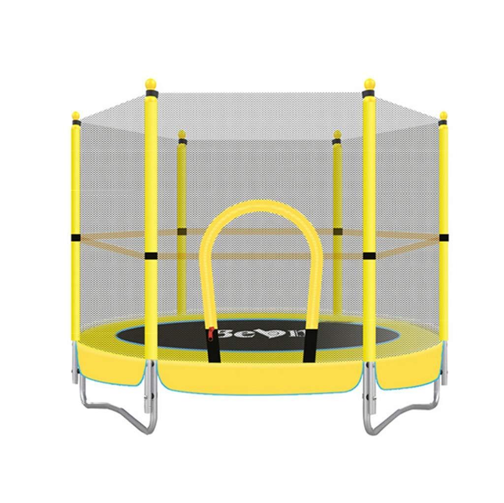 KALOY 60-Zoll-Kids Runde Mini mit Enclosure und Safety Jumping Mat, Gelb, Gewichtskapazität bis zu 330 lbs, Haltbare Stahlrahmen