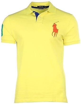 ab64b8b97bdf Polo Ralph Lauren Mens Custom Fit Big Pony Mesh Polo Shirt - Yellow -   Amazon.co.uk  Clothing