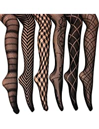 Fishnet Women's Lace Stockings Tights Sexy Pantyhose Extended Sizes (Pack of 6)