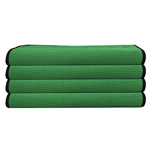 Amazon.com: American Terry Mills 12 Heavy Waffle Weave Microfiber Towel Detailing Glass Cleaning Towel Green with Black Hem: Automotive