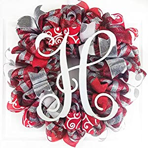 Red and Silver Monogrammed Christmas Door Wreath; White Holiday Front Door Wreath 61