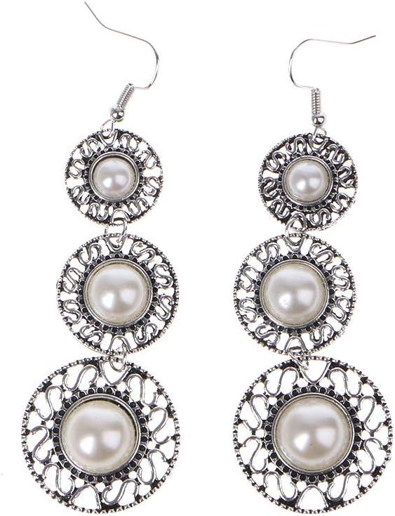 suoryisrty Boho Pendientes Colgantes, Perlas de imitación de Piedras Preciosas araña de aleación Retro Círculo Pendientes de Oreja Dangle Hook