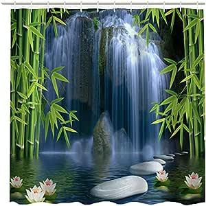 Hermosa cascada flores bambú lago cortinas de baño resistente al agua cortina de ducha de poliéster 60x 72inches