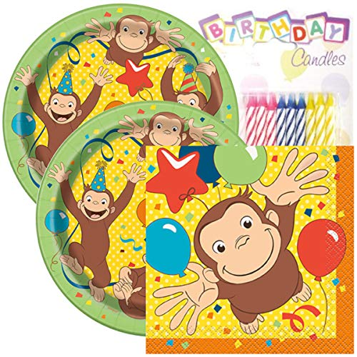 """Curious George Birthday Party Pack – Includes 7"""" Paper Plates & Beverage Napkins Plus 24 Birthday Candles – Serves -"""