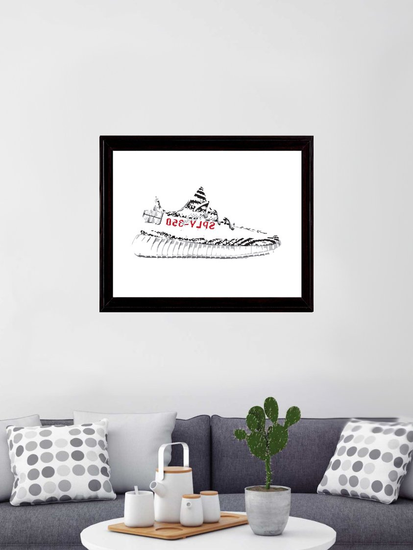 2720d4687 Amazon.com  Yeezy 350 Boost v2 Zebra Art Print  Posters   Prints