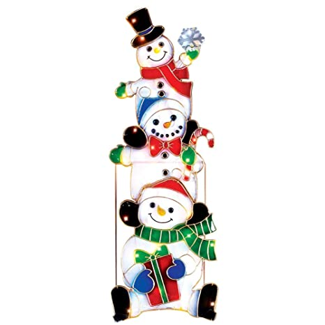 collections etc lighted stacked snowmen outdoor christmas decoration - Amazon Outdoor Christmas Decorations