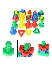 Suweqi 40 Stücke Montessori Schraube Bausteine Kunststoffeinsatz Blöcke Mutter Form Spielzeug Lernspielzeug Mädchen Baby Spielzeug Kleinkind Infant Spielzeug