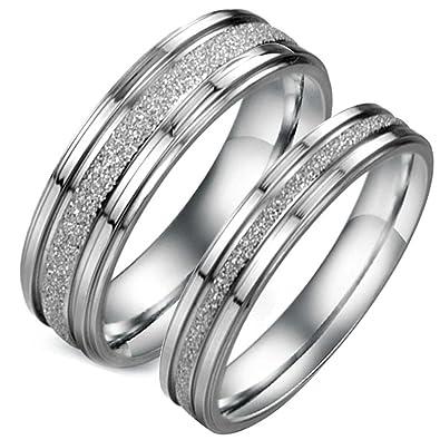 e75c35f89 Flongo Free Engraving 2PCS Matte Sparkle Stainless Steel Love Promise Ring  Valentine Couples Wedding Engagement Band: Amazon.co.uk: Jewellery