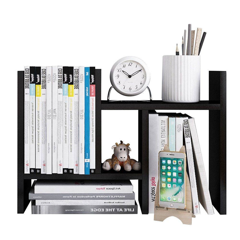 Adjustable Expandable Tidy Wood Desktop Storage for placing Office Supplies, Documents, Books, and Plants (Black, Type H)