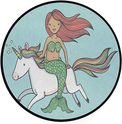 CutePrint Kitchen Floor Mat Cute Unicorn Mermaid Non Slip Runner Rug Door Mat for Home Entryway Kitchen Living Room Decor,39 X 20 in