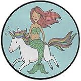 Vdsrup Cute Mermaid Unicorn Doormat Funny Animal Cartoon Round Floor Mat Washable Non-Slip Indoor Carpet for Living Room…