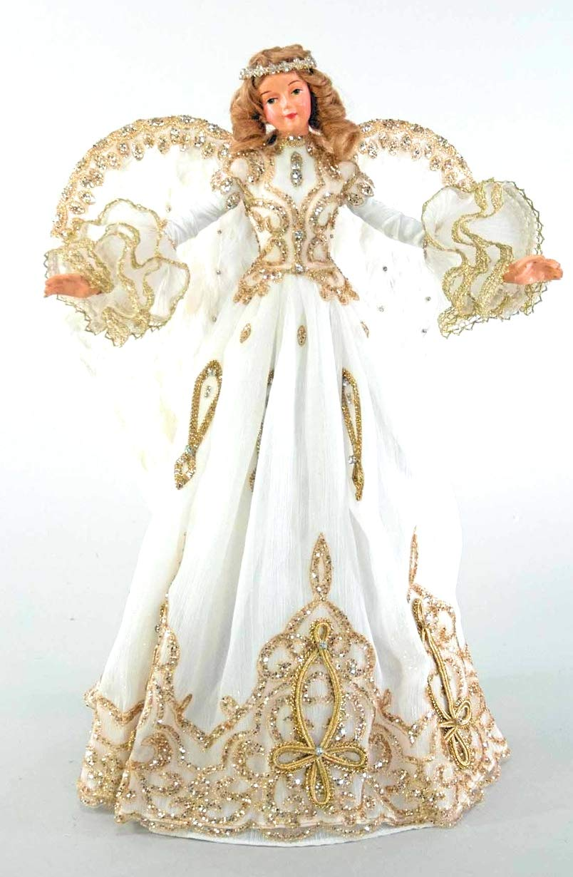 Katherine's Collection White Angel Tree Topper Thread of Gold 18""
