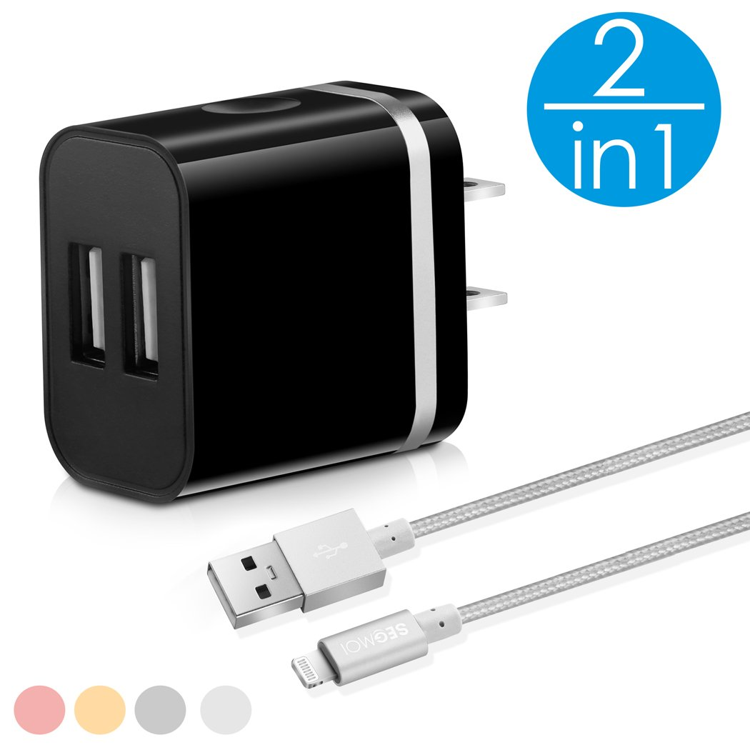2in1[ Apple MFi Certified ] 3Ft Lightning Cable with Dual Port USB Wall Plug Block Charger/Charging Cube/Power Adapter for iPhone X 8 Plus 7 6s 6 5 5s 5C SE (Black-Silver Kit) SEGMOI WXHD-BS