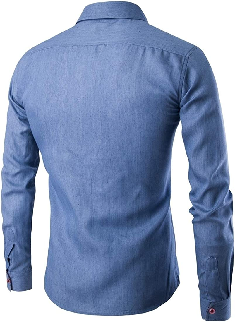 YUNY Mens Splice Tops Pocket Denim Plus Size Long Sleeve Dress Shirt Light Blue L