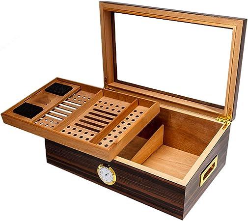 Cajas y dispensadores Caja De Puros 60 Cigarros Humidores Gabinete Puros Caja De Cigarrillo De Madera De Cedro con Higrómetro Y La Crema Hidratante (Color : Brown, Size : 43 * 28 * 17cm): Amazon.es: Hogar