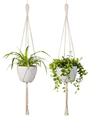 TIMEYARD Macrame Plant Hanger 2Pcs Indoor Outdoor Wall Hanging Planter Basket - Cotton Rope Modern Boho Home Décor