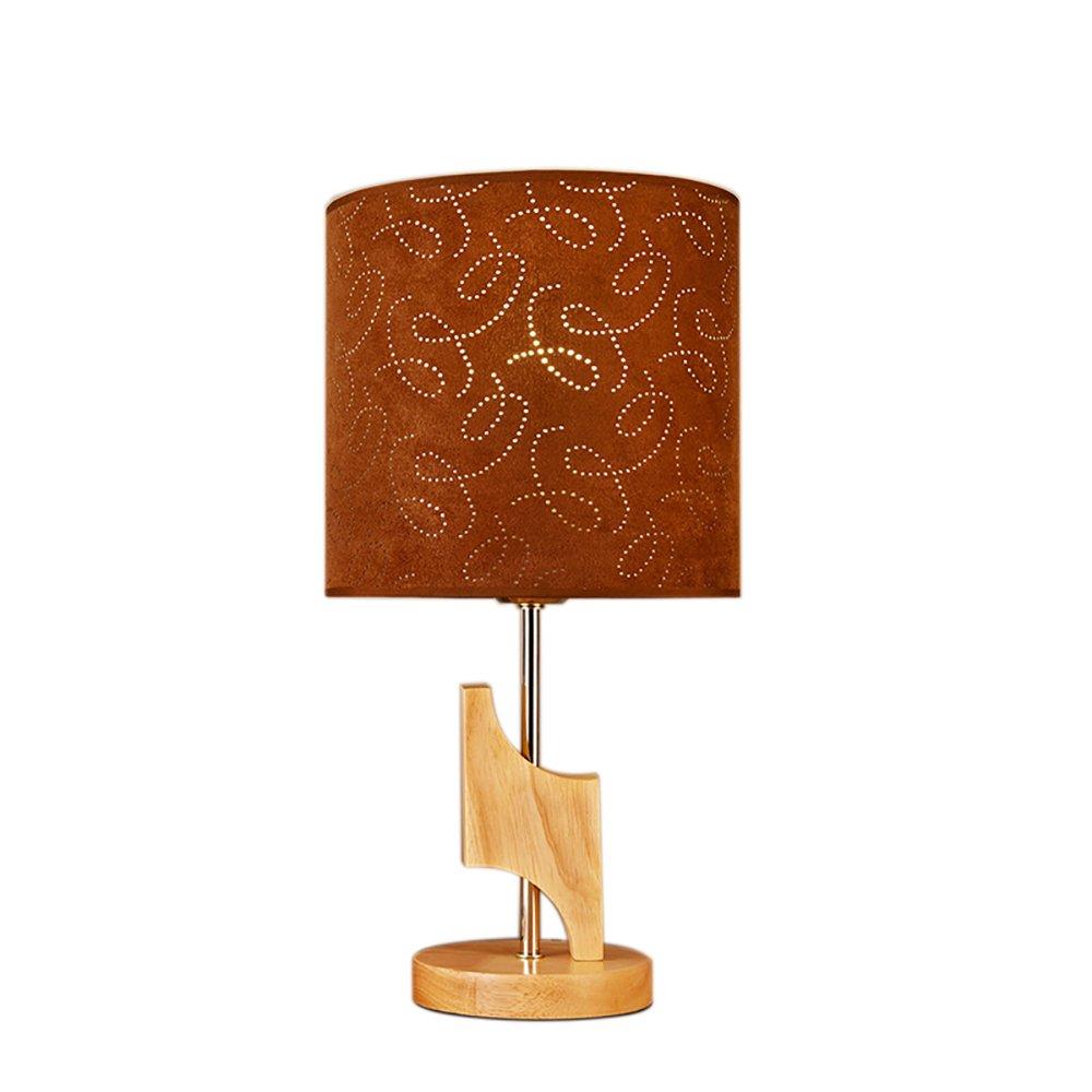 Uus Tischlampe Massivholz Stoff LED Schlafzimmer Nachttischlampe E27 Lampenfassung 20  39 cm Warmes Licht (Energiesparende A +) (Farbe   Push Button Switch, Größe   20  39cm)