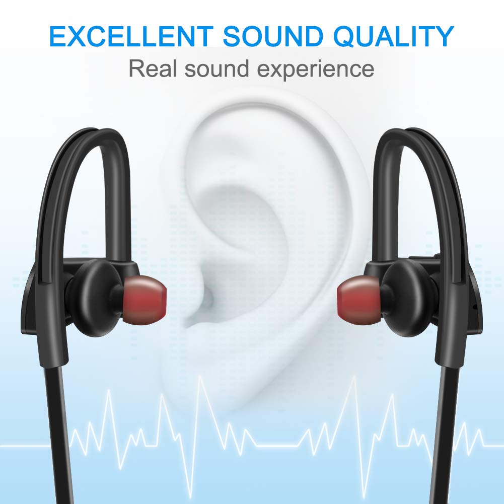 LEVREA Wireless Bluetooth Headphones Waterproof IPX7, Rechargeable HiFi Stereo Earbud Earphones with Mic, Working More Than 6 Hours