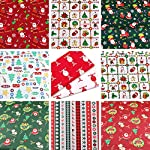 Hanjunzhao Christmas Fabric Fat Quarters Fabric Bundles,100% Cotton Quilting Fabric for Sewing Crafting,10 Pcs 18