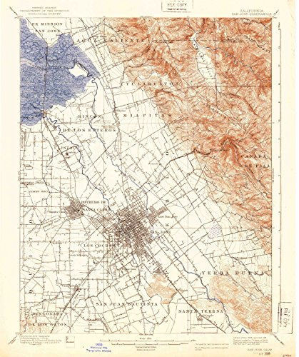 San Jose CA topo map, 1:62500 scale, 15 X 15 Minute, Historical, 1889, updated 1939, 19.8 x 16.6 IN - - Jose Santana San