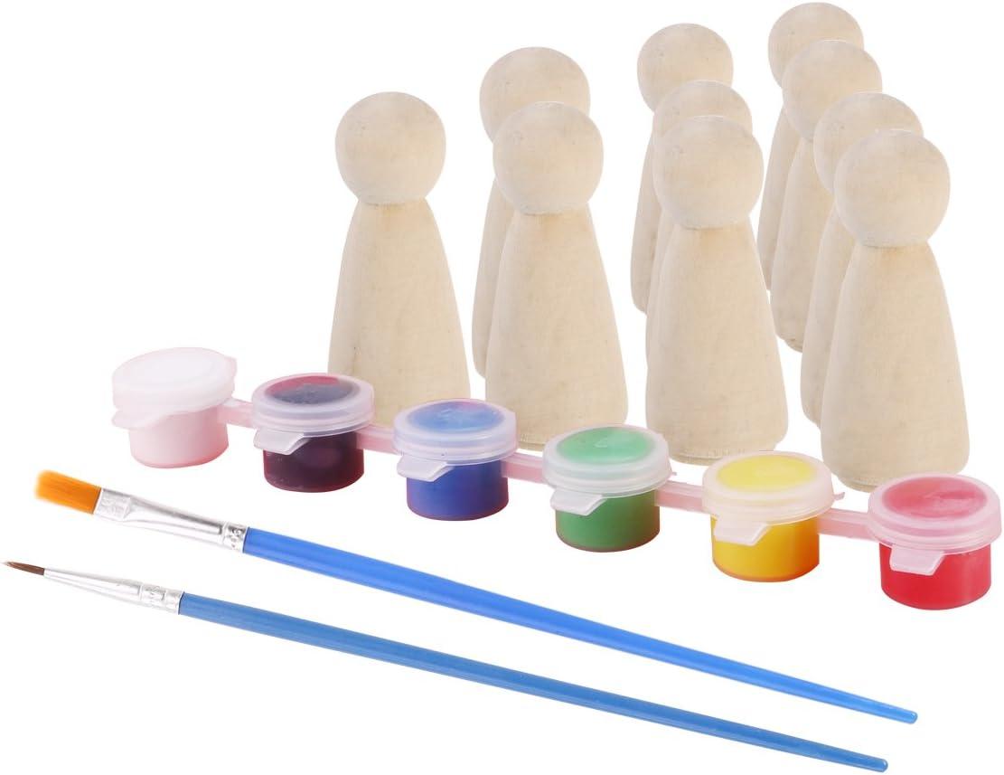 ROSENICE 10 St/ück DIY Holzfiguren Hochzeit Geburtstag Dekoration mit 6 Farben Pigment 2 Paintbrush