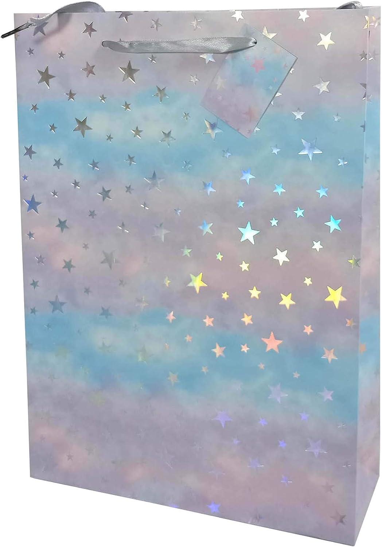31466 tama/ño 34 x 25 x 8 cm Idena 31466-Bolsa Estrellas Paquete de Regalo Navidad
