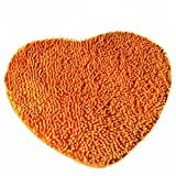 USTIDE Super Soft Lovely Heart Love Shaped Area Rugs Anti-skid Chenille Door Mat Absorbent Bath Mat 50cm60cm,Orange