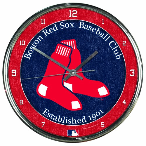 (MLB Boston Red Sox Chrome Clock, 12