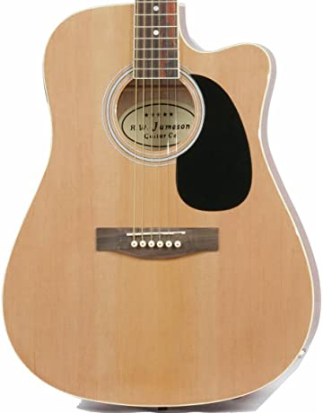 Jameson Guitars Full Size Thinline Acoustic Electric Guitar with Free Gig Bag Case & Picks Natural
