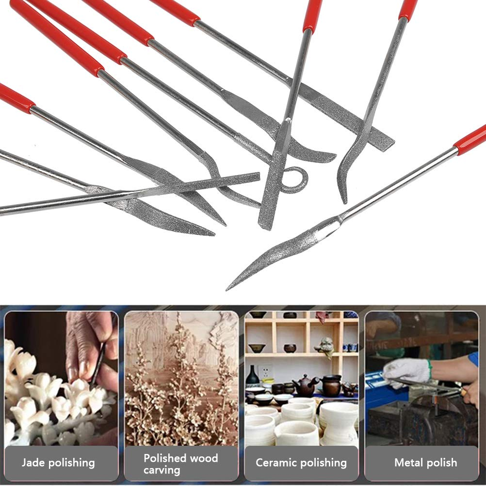 Gold Ceramic Rock Silver Platinum Jewelry,and Wood Carving FOCCTS 10 Pcs Diamond Needle Files Perfect for Filing Glass Carbide Stone
