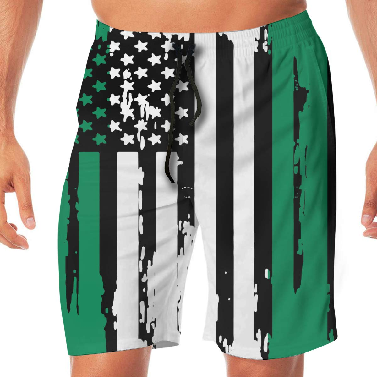 Mens Abstract American Nigerian Flag Boardshorts Beach Pants No Mesh Lining