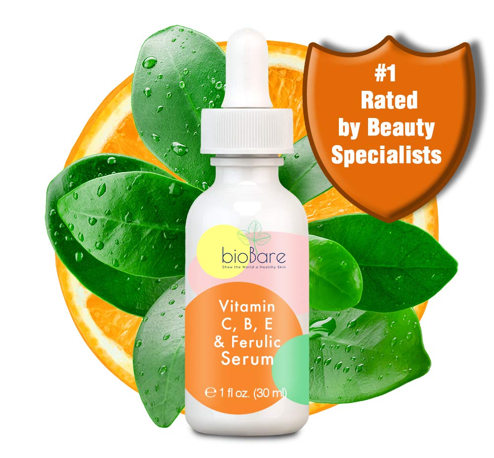 BioBare Vitamin C B E, and Ferulic Serum - With 20% L-Ascorbic Acid (Pure Vitamin C) 1 Fluid Ounce - with Hyaluronic Acid. Helps Reduce the Appearance of Fine Lines and Wrinkles - Helps Your Skin Glow by Biobare