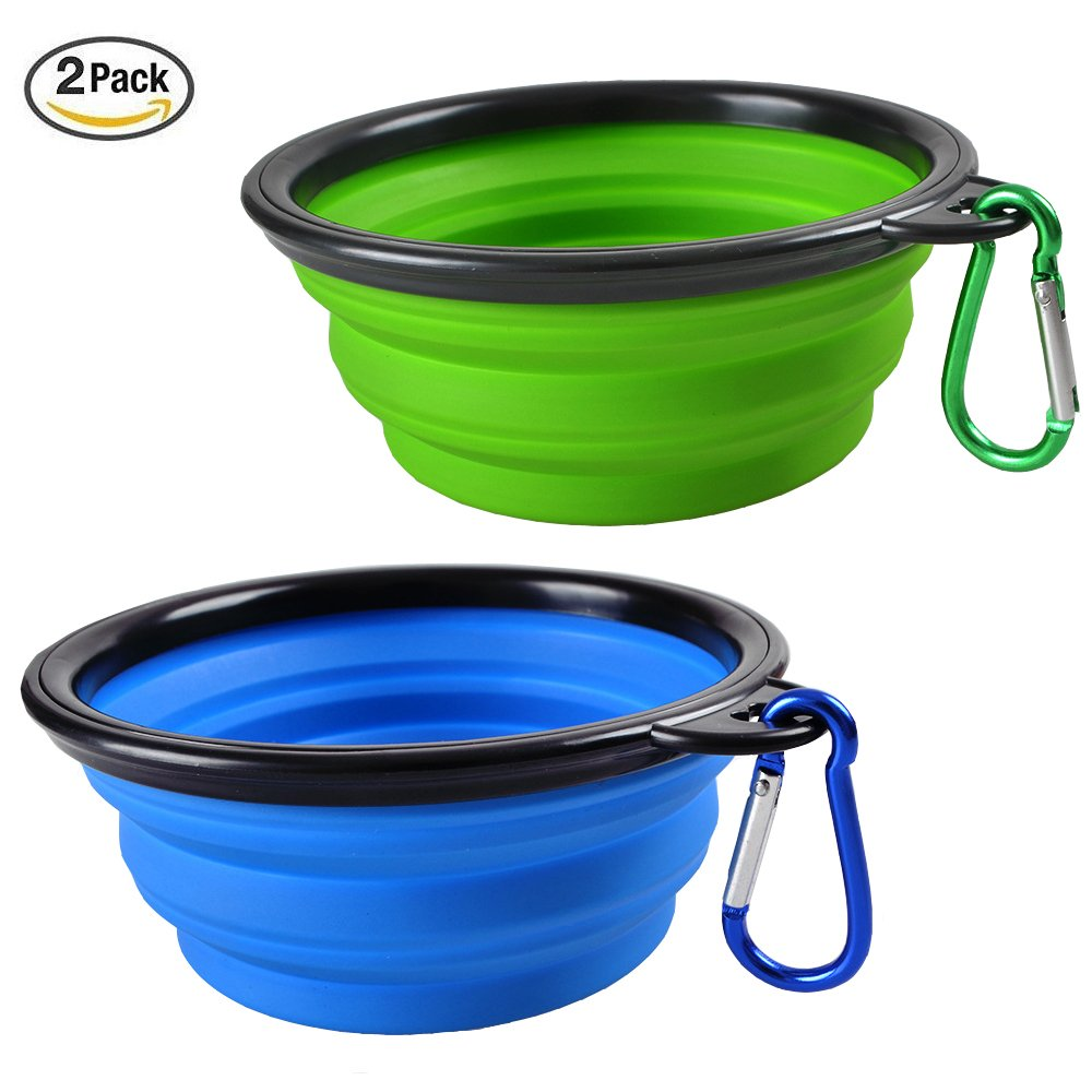 Elome 7'' Diameter, Extra Large 2 Pack Silicone Collapsible Dog Bowl, BPA Free FDA Approved, Foldable Expandable Cup Dish for Pet Cat Food Water Feeding Portable Travel Bowl, Blue & Green