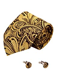 Gold Paisleys Silk Tie Cuff Links Set Black Pattern Gifts for the Groom Handmade A2106 One Size black,gold