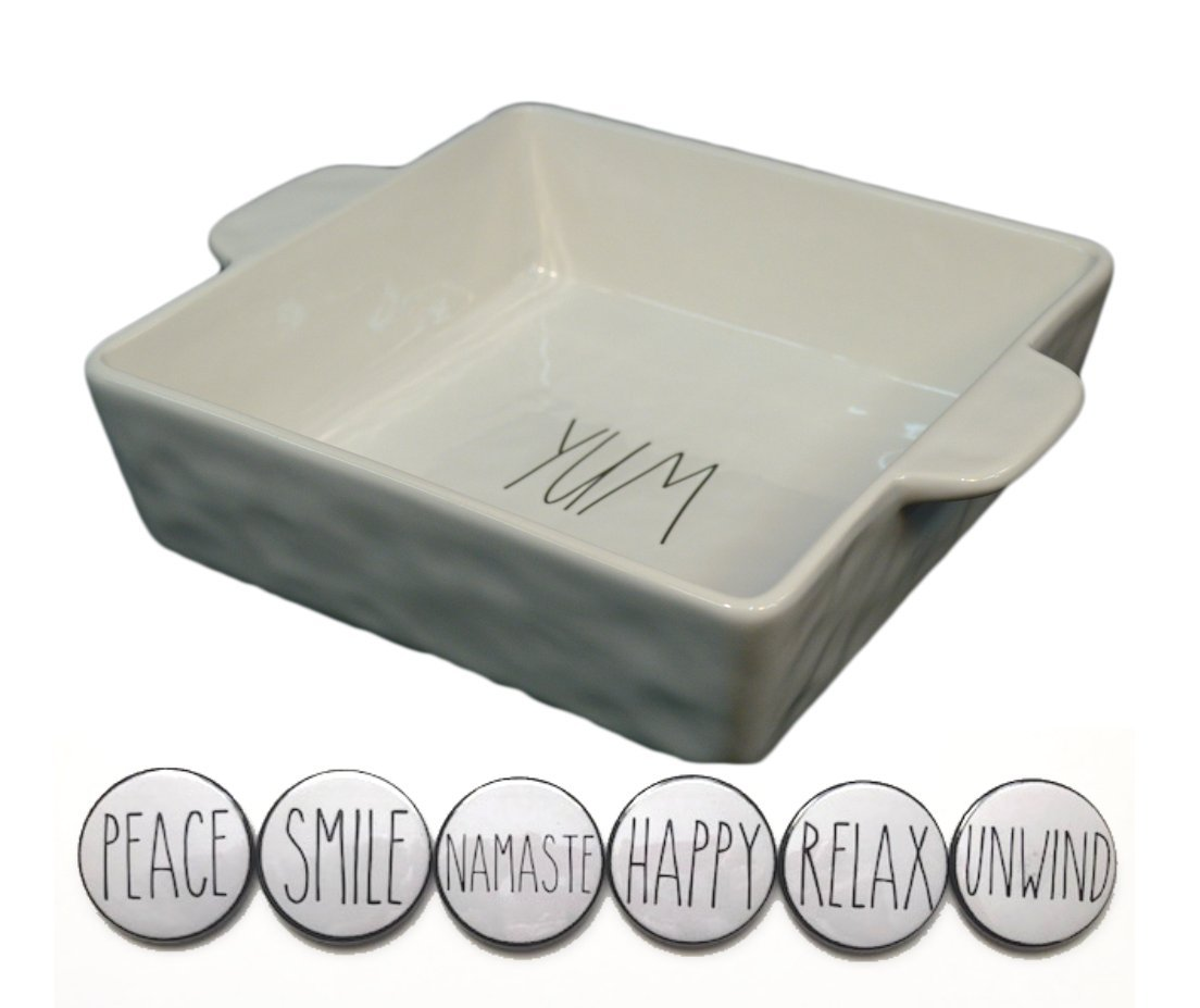 Rae Dunn Large 9 Inch Square YUM Casserole Baking Dish Cake Pan and Fridge Magnet Set Bundle by Rae Dunn