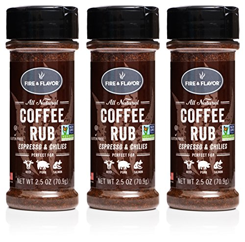 Fire & Flavor Natural Espresso and Chilies Coffee Rub, 2.5 ounce Bottles, Pack of 3 (Coffee And Flavor)