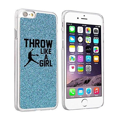 Softball Glitter (For Apple iPhone 6 Plus / 6s Plus Glitter Bling Hard Case Cover Throw Like a Girl Softball (Light Blue))