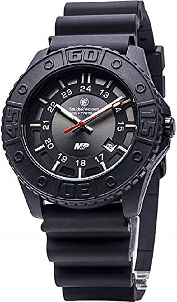 Smith & Wesson Men's SWW-MP18-BLK M&P Swiss Tritium H3 Black Dial Rubber Band Watch