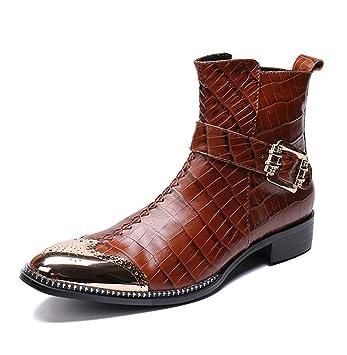 HNM Boots Botas para Hombre, Cremallera Tobillo Cuero Botas Vaquero Botines Tobillo Botas Dedo del pie Puntiagudo Marrón Vespertino Fiesta Club Nocturno ...