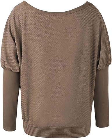 KOERIM Jersey de Algodón Mujer, Pullover Jersey Un Hombros Blusas Suéter de Algodón Cómodas Blusa Manga Larga para Otoño e Invierno: Amazon.es: Ropa y accesorios