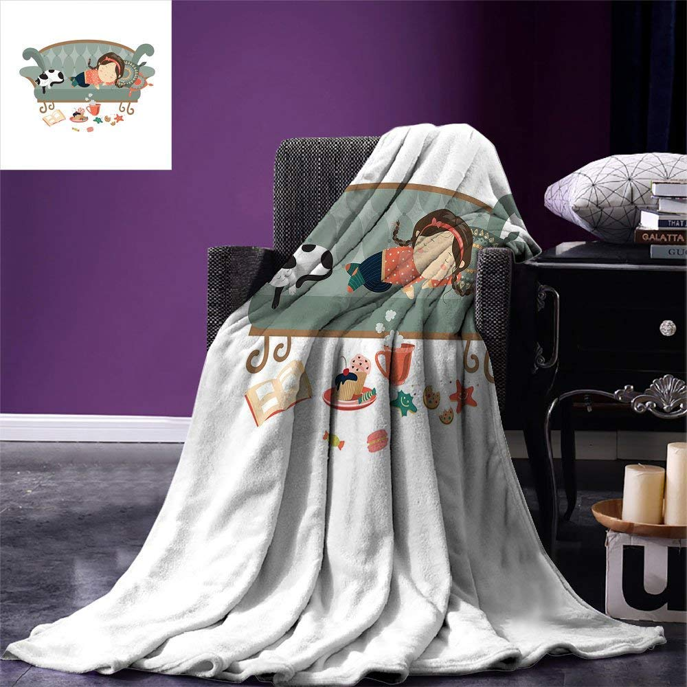 color14 60 x36  SINOVAL Kitten Warm Microfiber All Season Blanket Girl with Sunglasses Lying on Couch Cat in Home Theme with Stains Animals Print Artwork Image£¬Multicolor, Black purplec Lavender