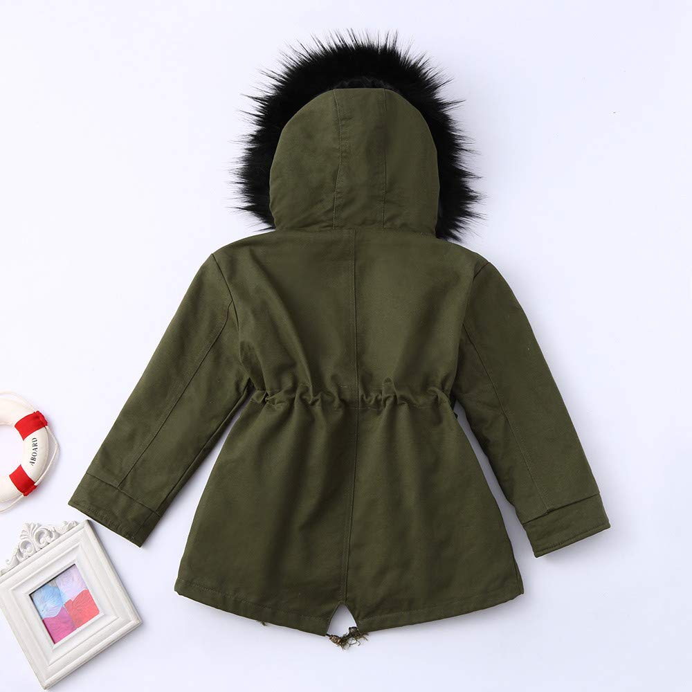 kaiCran Kids Baby Girls Winter Down Jacket Hooded Button Zipper Thick Cotton Warm Jacket
