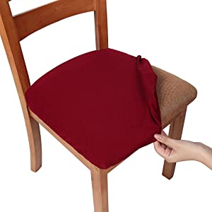 smiry Stretch Spandex Jacquard Dining Room Chair Seat Covers, Removable Washable Anti-Dust Dinning Upholstered Chair Seat Cushion Slipcovers - Set of 2, Burgundy