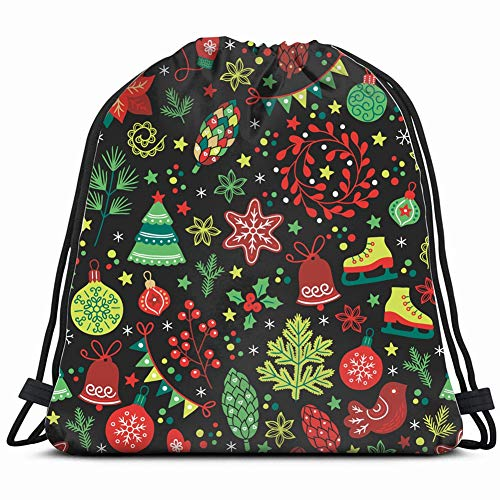 christmas fir tree poinsettia holidays Drawstring Backpack Gym Sack Lightweight Bag Water Resistant Gym Backpack for Women&Men for Sports,Travelling,Hiking,Camping,Shopping Yoga ()