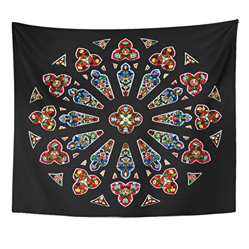 Emvency Tapestry Colorful Stain Stained Glass in Cathedral Window Church Catholic Home Decor Wall Hanging for Living Room Bedroom Dorm 50x60 Inches