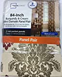 Burgundy & Cream Mini Damask Curtain Panel Pair For Sale